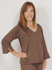 Three Quarter Sleeve Top Chocolate with Soft Pink
