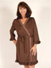 Ladies Wrap Robe Chocolate Brown w/Polka Dot Trim