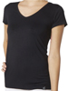 Organic Bamboo V Neck Top - Black